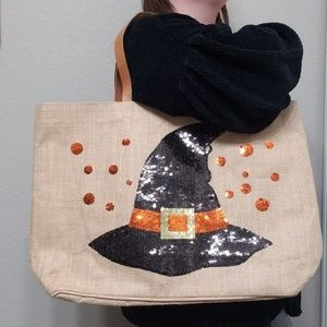 Mud Pie | Sequin Witch Hat Halloween Jute Tote Bag